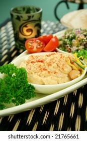 Tabouleh with hommus and lemon chickpeas with fresh pita bread.