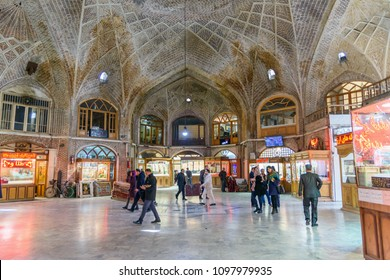 Tabriz, East Azerbaijan province, Iran - March 15, 2018: People walk on Amir Bazaar or Gold Bazaar. Tabriz Grand Bazaar is one of the oldest bazaars in the Middle East