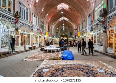 Tabriz, East Azerbaijan province, Iran - March 15, 2018: Persian carpets and rugs section in Tabriz Grand Bazaar is one of the oldest bazaars in the Middle East