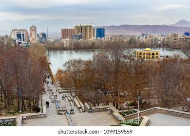 Tabriz, East Azerbaijan province, Iran - March 15, 2018: View of Park El Golu in spring
