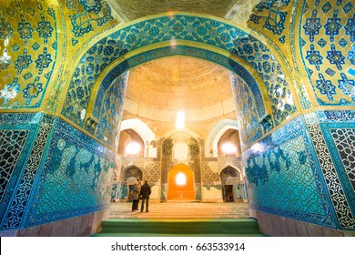 TABRIZ, IRAN - OCTOBER 29: Tourist visit Blue Mosque a famous historic mosque in Tabriz, Iran. on October 29,2016.The Blue mosque was built  in 1465 upon the order of Jahan Shah, Kara Koyunlu dynasty.