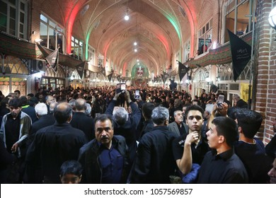 TABRIZ, IRAN - SEPTEMBER 30: Imam Hussein Mourning Ceremony in Tabriz Grand Bazaar on September 30, 2017 in Iran. Mourning ceremonies performed by Shiite Muslims because of the death of Imam Hussein.