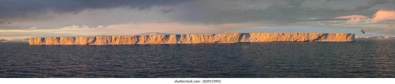 Tabular iceberg, sunset glow, Bransfield Strait,Antarctica