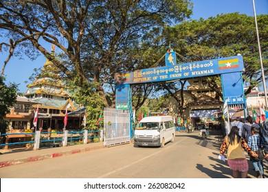 TACHILEIK - MARCH 19: The Thailand and Myanmar Border Crossing Points at Tachileik -Maesai bridge on March 19, 2015 in Tachileik,Myanmar