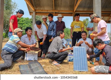 Tachileik, Myanmar - March 30 2017. Students getting hands-on practice in solar power installation in remote area of Myanmar.