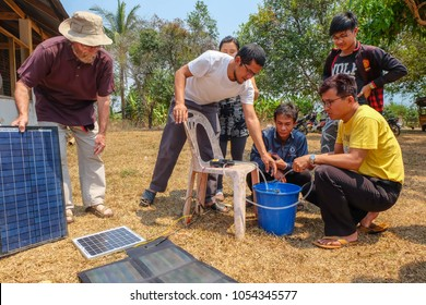 Tachileik, Myanmar - March 30 2017. Using solar panels to provide power for water pump in remote area of Myanmar