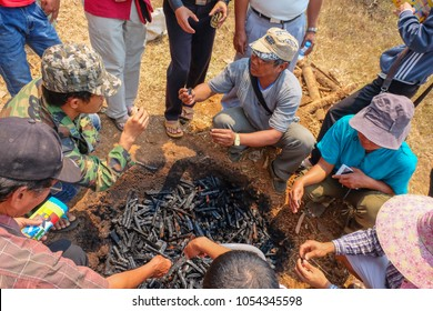 Tachileik, Myanmar - March 31 2017. Discussing the qualities of burned wood for making biochar