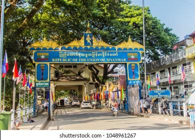 Tachileik, Myanmar - November 18, 2017: Tourists visited Tachileik border market from Mae Sai, Thailand. Tachilek or Tha Khi Lek is a border town in the Shan State of eastern Myanmar.