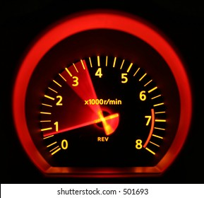 Tachometer of a 350Z, revved.