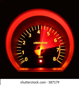 Tachometer of 350Z revved to redline