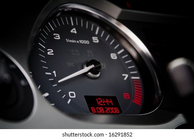 Tachometer of a luxury car closeup
