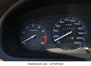 Tachometer, speedometer and odometer in the old car.