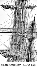 Tackle, rigging and sails of a tall ship