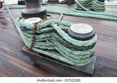 Tackle sailing ship, close up