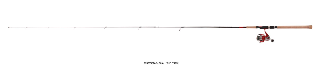 Tackle for summer fishing. Ultra light fishing rod for catching predatory fish. Fishing rod, reel, actual size, isolated on white