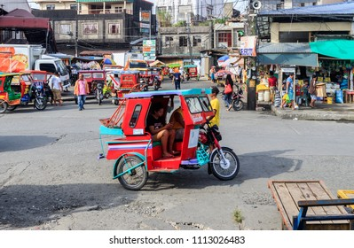 Tacloban City, Philippines - June 12, 2018: A Tricycle In Downtwon Tacloban City