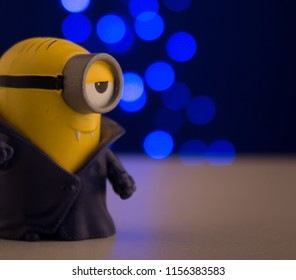Tacna, Perú - 2th March 2017: Minios toy on the floor with bokeh background from Minions film produced by Universal Pictures. Toy Collection.