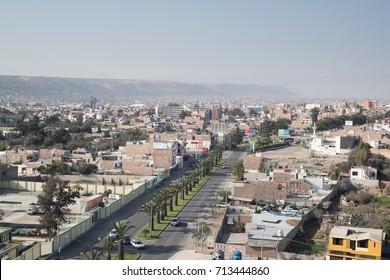 TACNA, PERU: Panoramic view of Tacna city, in the south of Peru.