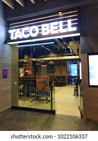 Taco Bell.10th February 2018. Finland, Espoo, Taco bell restaurant entrance with open door in shopping center called iso omena.
