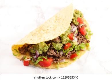 taco, fajita with beef