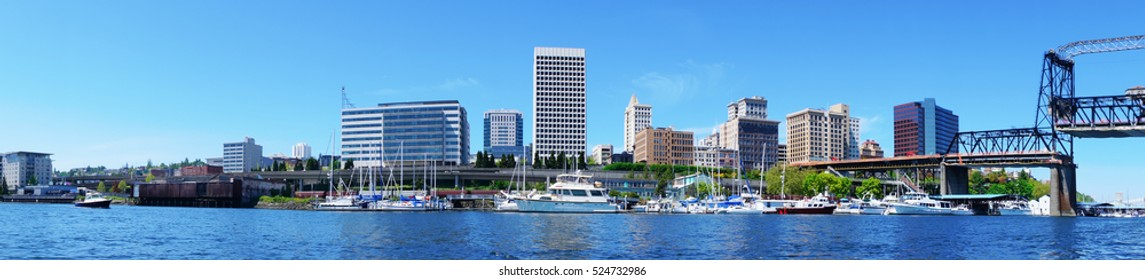 Tacoma downtown water view with business buildings. Northwest. Washington State. American town.