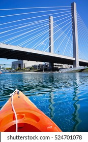 Tacoma downtown from the water while kayaking on Sunny summer day . Washington state.