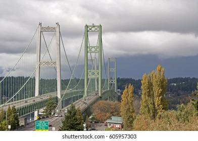 Tacoma Narrows bridge photographed from the Tacoma, WA, USA.