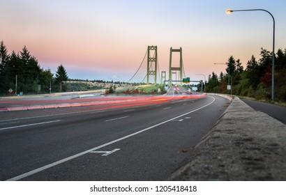 Tacoma Narrows Bridge at Sunset, Washington-USA