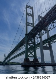 Tacoma Narrows Bridge from under the bridge in the Narrows stretch of South Puget Sound