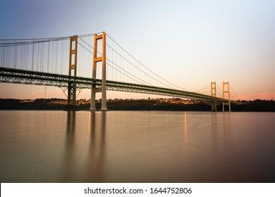 Tacoma Narrows Bridges at sunset