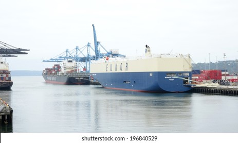 TACOMA, U.S.A - JUNE 04, 2014: EUKOR's Morning Cherry  arrives in the Port of Tacoma, Washington on her maiden voyage. EUKOR annually transports around 4 million cars worldwide.