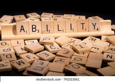 "TACOMA, WA, JANUARY 10, 2018: Illustrative editorial use of Scrabble letters to create words significant to business, such as ""Ability""."