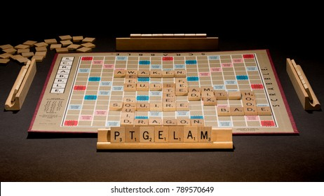 TACOMA, WA, JANUARY 8, 2018: Originally invented in 1938 by American architect Alfred Mosher Butts, the popular board game Scrabble is approaching its 80th anniversary. Illustrative Editorial.