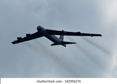 TACOMA, WA - JULY 21: Boeing B-52 Stratofortress flyby demonstration during Air Expo at McChord Field Joint Base Lewis-McChord on July 21, 2012 in Tacoma, WA.