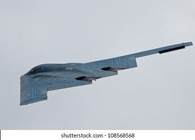 TACOMA, WA - JULY 21: Northrop Grumman B-2A Spirit (Spirit of Ohio) flyby demonstration during Air Expo at McChord Field Joint Base Lewis-McChord on July 21, 2012 in Tacoma, WA.