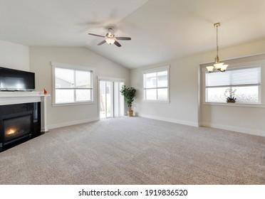 Tacoma, WA, USA - Aug. 26, 2020: Empty residential living room interior