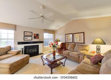 Tacoma, WA, USA - Sept. 23, 2020: Modern residential living room interior