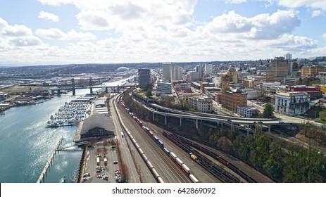 Tacoma Washington Cityscape Railroad, Dome, Downtown, Foss River Waterfront