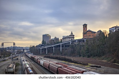 Tacoma Washington freight train yard on a cold stormy winter day.