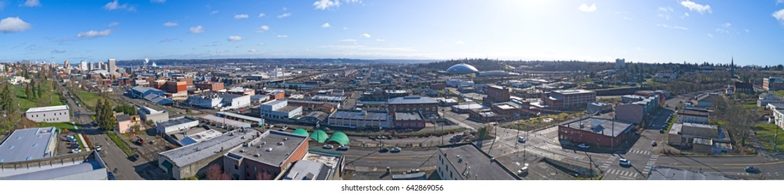 Tacoma, Washington USA City Downtown Aerial Panorama