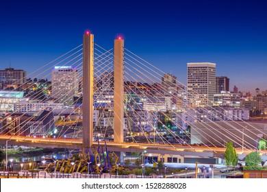 Tacoma, Washington, USA cityscape with East 21st Street Bridge at night.