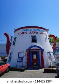 Tacoma, Washington USA - July 23, 2018: World Famous Bob's Java Jive coffee pot shaped cafe, restaurant and bar since 1927 a landmark roadside tourist attraction