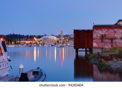 Tacoma waterfront in downtown. Washington State. USA. Tacoma Dome building.
