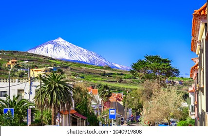 Tacoronte, Tenerife, Canary islands, Spain: North coast and the summit of Teide Mountain - volcano, seen from the streets of the Tacoronte.