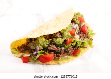 tacos, fajita on white background