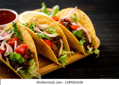 tacos with meat and vegetables  -  Mexican food style