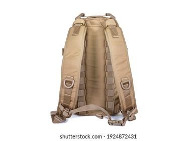 taktische Rucksack-Farbe coyote Vorderansicht einzeln auf weißem Hintergrund Militärtouristik