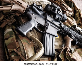 Tactical carbine on the bulletproof vest