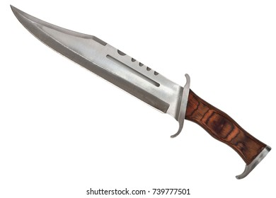 Tactical Combat Hunting Survival Bowie Knife Isolated On White Background