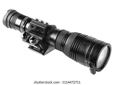 tactical flashlight on a white background
